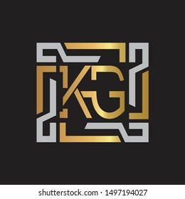 KG Letter logo initial capital monogram with abstract ornament
