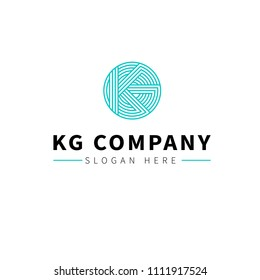 KG logo for elegant blue and green business company with connected lines