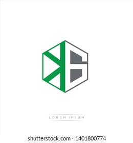 KG Logo Initial Monogram Negative Space Design Template With Dark Green and Grey color