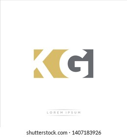 KG Logo Letter with Modern Negative space - Dark Yellow and Grey Color EPS 10
