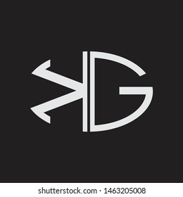 KG Logo letter oval monogram design template with black and white colors
