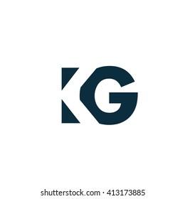 KG Logo. Vector Graphic Branding Letter Element. White Background