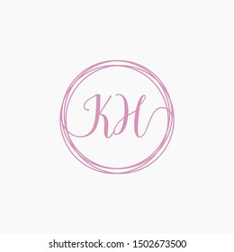 KH Initial Handwriting logo template, Creative fashion logo design, couple concept -vector