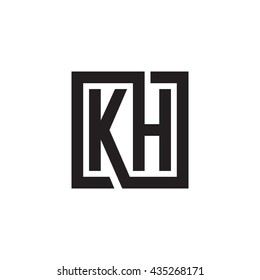 KH initial letters looping linked square monogram logo