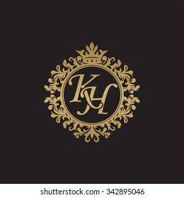 KH initial luxury ornament monogram logo