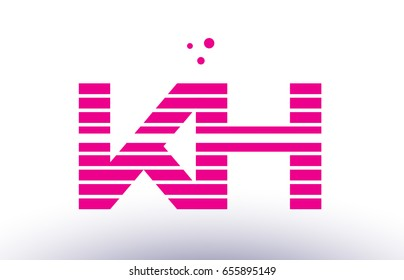 kh k h alphabet letter logo pink purple line stripe company design template creative abstract vector