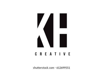 KH K H White Letter Logo Design with Black Square Vector Illustration Template.
