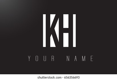 KH Letter Logo With Black and White Letters Negative Space Design.