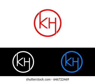 Kh Logo. Letter Design Vector with Red and Black Gold Silver Colors