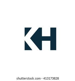 KH Logo. Vector Graphic Branding Letter Element. White Background
