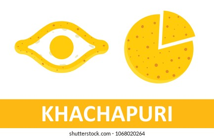 Khachapuri vector illustration. Adjarian and Megrelian khachapuri, isolated on background.