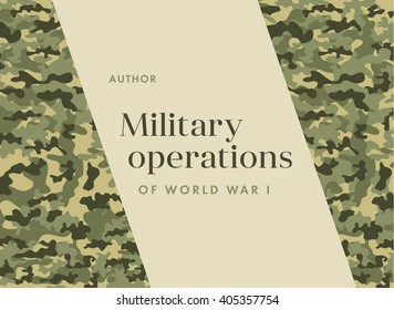 Khaki book cover Leaflet Brochure Flyer template design,  layout design. Camouflage military cloth of infantry. Abstract background. There are place for text. Vector illustration, EPS10