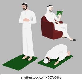 Khaliji Men Doing Religious Rituals-vector