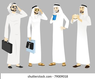 Khaliji Men Icons In Standing Positions-vector