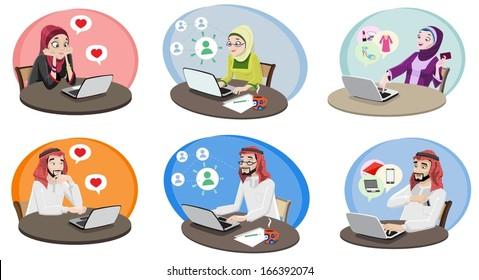 Khaliji People Using The Internet 1-vector