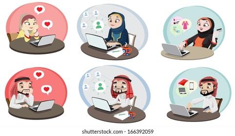 Khaliji People Using The Internet 2-vector