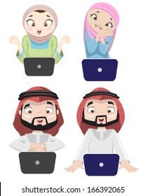 Khaliji People Using The Internet 3-vector