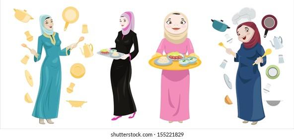 Khaliji Women Cooking Icons-vector