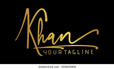KHAN, khan Beauty vector urdu pakistani name logo, handwriting logo signature, photography, wedding, fashion, jewerly, boutique, floral with creative template for any company or business.