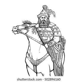 Khan Mongolian nomad on horseback