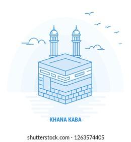 KHANA KABA Blue Landmark. Creative background and Poster Template