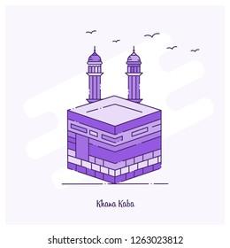 KHANA KABA Landmark Purple Dotted Line skyline vector illustration