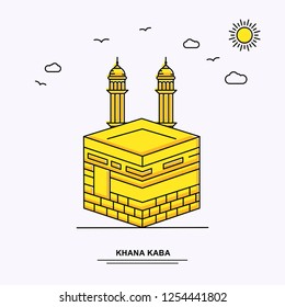 KHANA KABA Monument Poster Template. World Travel Yellow illustration Background in Line Style with beauture nature Scene