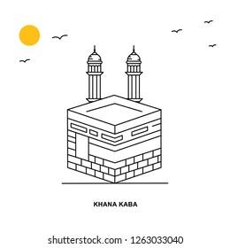 KHANA KABA Monument. World Travel Natural illustration Background in Line Style
