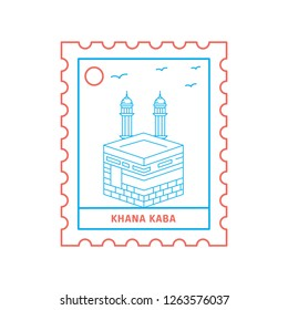 KHANA KABA postage stamp Blue and red Line Style, vector illustration