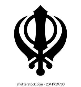 Khanda Black illustration icon. Sikh religion symbol isolated on white background