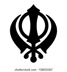 Khanda Sikh icon isolated on white background. Black silhouette. Religious symbol. Vector illustration