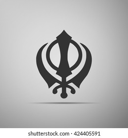 Khanda Sikh icon on grey background. Vector Illustration
