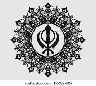 Khanda Sikh symbol with beautiful pattern graphic, Khanda Sikh symbol logo graphics design.