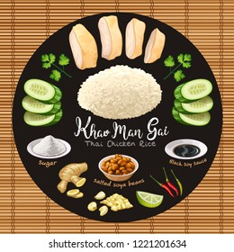 Khao man gai thai style chicken rice with ingredients vector illustration