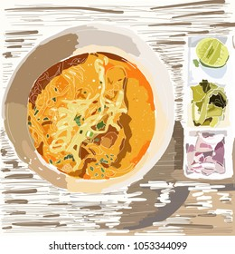 Khao soi - Traditional Thai Food, Khao Soi Thai Noodle Curry Soup with chicken on wood table, Khao soi is a famous food in northern of Thailand, top view.vector illustration.