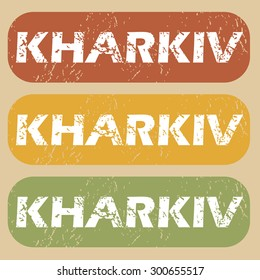 Kharkiv on colored background