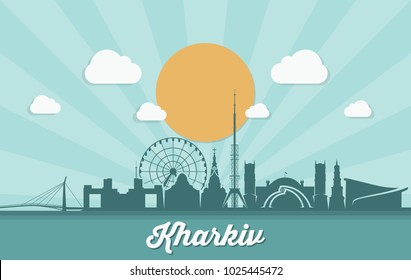 Kharkiv skyline - Ukraine - vector illustration