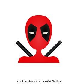 Kharkov, Ukraine - August 16, 2017: Illustration of Deadpool. Deadpool icon