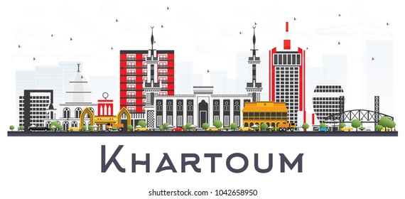 Khartoum Sudan City Skyline with Gray Buildings Isolated on White. Vector Illustration. Business Travel and Tourism Concept with Historic Architecture. Khartoum Cityscape with Landmarks.
