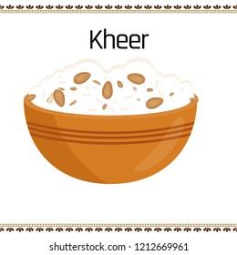Kheer, traditional Indian food, vector illustration