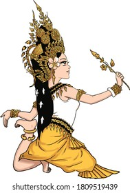 Khmer Apsara angel dancing with perfectly balance gesture