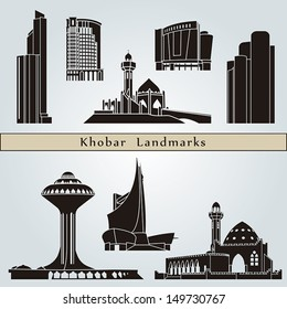 Khobar landmarks and monuments isolated on blue background in editable vector file