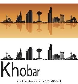 Khobar skyline in orange background in editable vector file