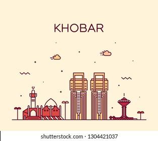 Khobar skyline, Saudi Arabia. Trendy vector illustration, linear style