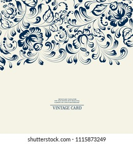 Khohloma style floral pattern. Invitation card template with khohloma design elements. Blue line design. Vector illustration.
