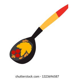 Khokhloma spon vector illustration. Wooden spoon. Russian tradicional symbol. Travel to Russia art cartoon style. Vintage hohloma spoon isolated on a white background
