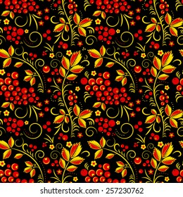 Khokhloma vector seamless pattern in russian tradition, rblack background