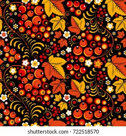 Khokhloma vector seamless pattern in slavic folk style, black backdrop