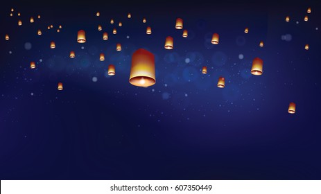 Khom loy or floating lanterns in night sky. Thai people believed that misfortune will fly away with the lanterns. Sometime belief this activities is sending souls to heaven.