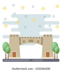 Khyber pass flat icon vector